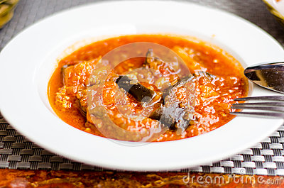 Eggplants and beef stew