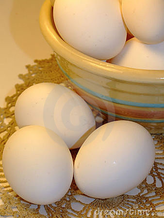Free Eggs And Striped Bowl - Close-up Royalty Free Stock Image - 1388496