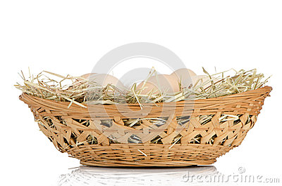 Eggs on a basket