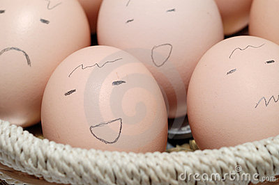 Eggs in Basket with Faces
