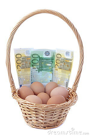 Eggs in a basket with money for Easter.