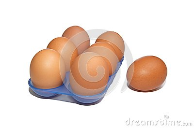 Eggs in the blue container.