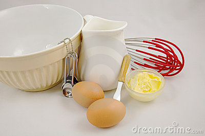 Eggs butter dairy products and baking ingredient