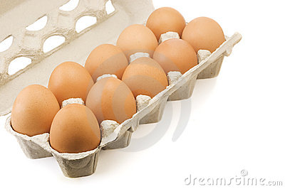 Eggs in carton isolated