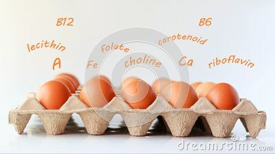 Eggs on the carton tray with the nutrients letters are floating on top. stock footage