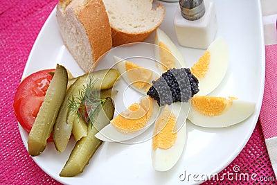 Eggs with caviar