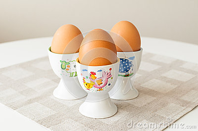 Eggs in cup holders