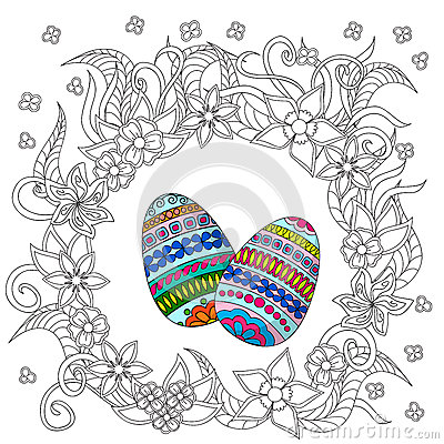 Free Eggs Decoration With Doodle Flowers Royalty Free Stock Image - 65676296