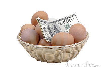 Eggs with dollars.