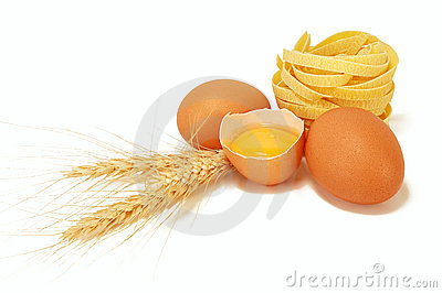 Eggs with ears of wheat and pasta