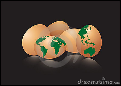 Eggs with earth map
