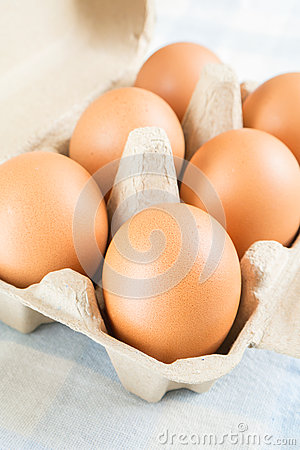 Eggs in egg carton on blue background