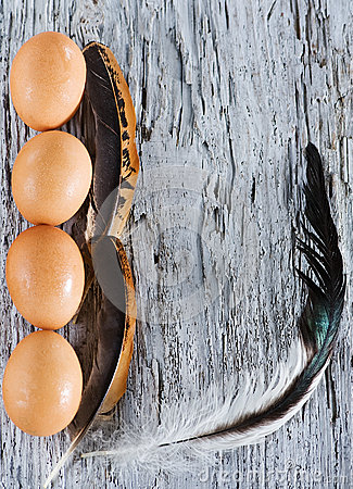 Eggs and feather on the old wood
