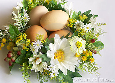 Eggs in floral nest