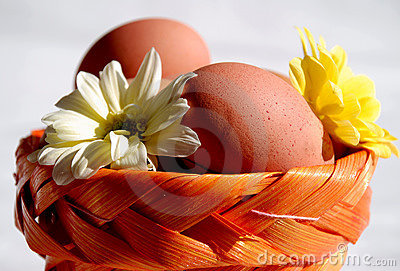 Eggs and flowers in basket 2