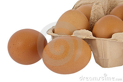 Eggs in front of a box