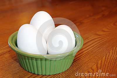Eggs in a green bowl