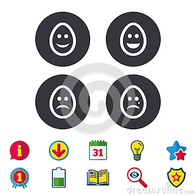 Eggs happy and sad faces signs. Easter icons. Vector Illustration