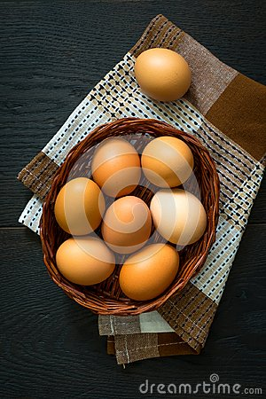 Free Eggs In A Basket Top View Easter Concept Stock Image - 112520461