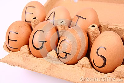 Eggs with an inscription EAT EGGS