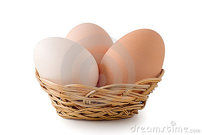 Eggs lay in a woven basket