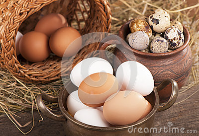 Eggs on old wooden