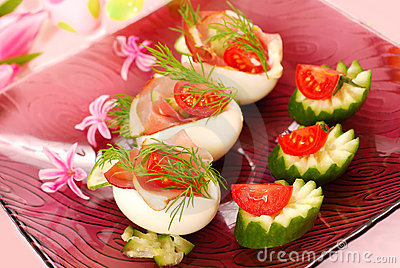 Eggs with parma ham for easter