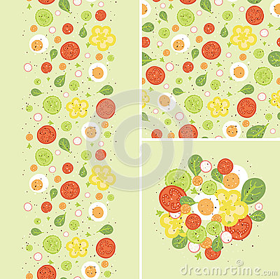 Eggs and salad set of seamless pattern and