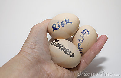 Eggs with symbol riskword in a mankind people hand