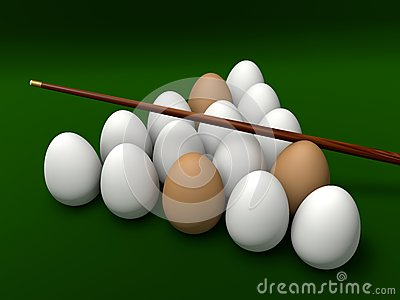 Eggs on the table for billiards