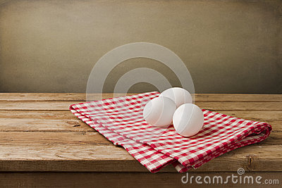 Eggs on tablecloth