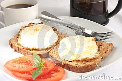 Eggs on toast breakfast