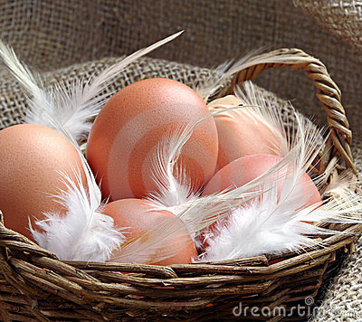 Eggs in a wicker basket