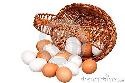 Eggs in wicker basket