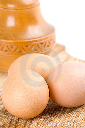 Eggs and wooden box