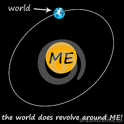 Being egocentric and thinking the world revolves around you.