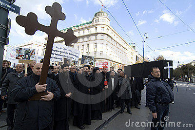 Egypt Christian demonstrate in Vienna Editorial Image