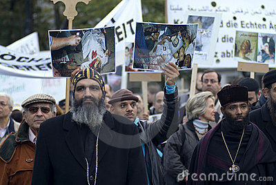 Egypt Christian demonstrate in Vienna Editorial Photography