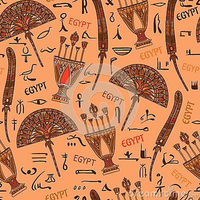 Free Egypt Colorful Ornament With Elements And Silhouettes Hieroglyphs Of Ancient Egyptian Culture. Royalty Free Stock Image - 57262016