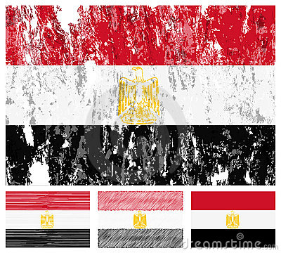 Egypt grunge flag set