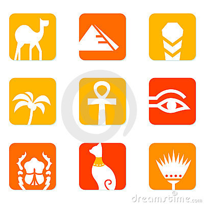 Egypt icons and design elements block.