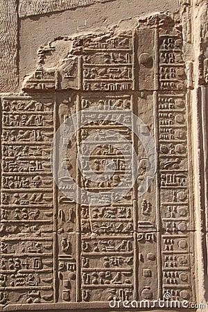 Free Egypt Kom Ombo Hieroglyphics On Vertical Wall Stock Photo - 14754040