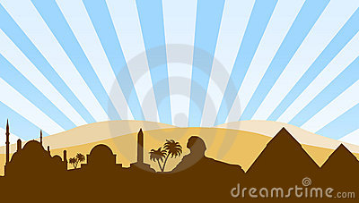 Egypt landmarks travel background