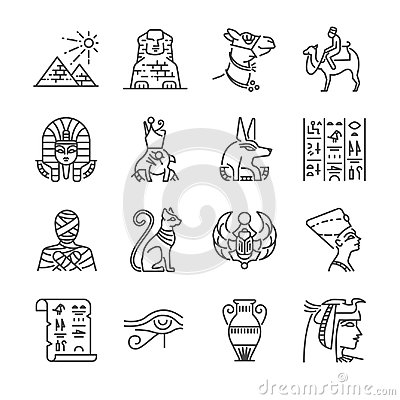 Free Egypt Line Icon Set. Included The Icons As Pharaoh, Pyramid, Mummy, Anubis, Camel And More. Stock Photography - 95564262