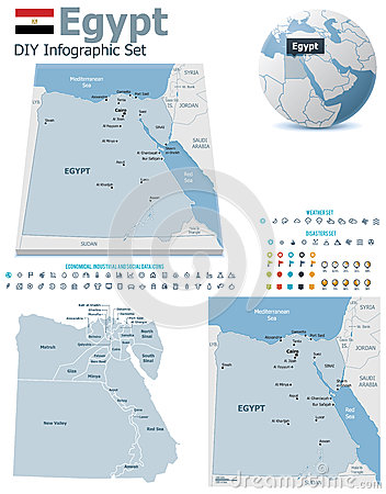 Egypt maps with markers