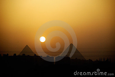 Egypt pyramids sunset