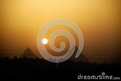 Egypt pyramids sunset