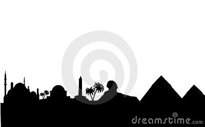 Egypt skyline and landmarks silhouette