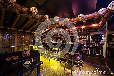 The Egypt style hall of Karaoke - Club PHARAOH Editorial Stock Photo