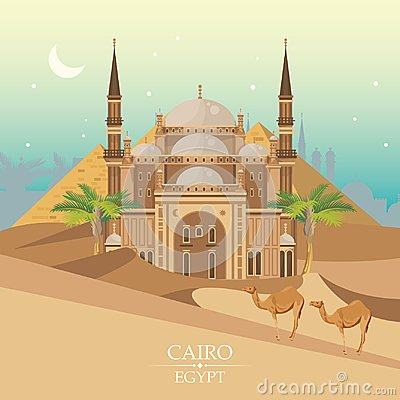 Free Egypt Travel Vector With Mosque. Egyptian Traditional Icons In Flat Design. Holiday Banner. Vacation And Summer. Royalty Free Stock Photos - 102376598